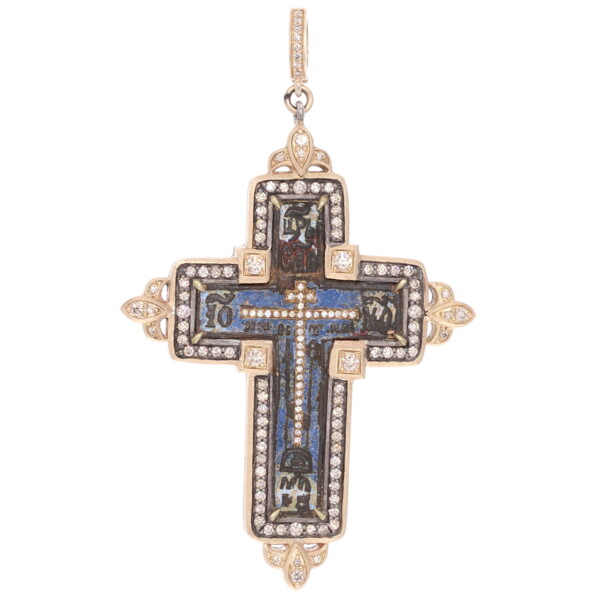 Closeup photo of Ancient Old Believers Cross w/ Blue & White Enamel