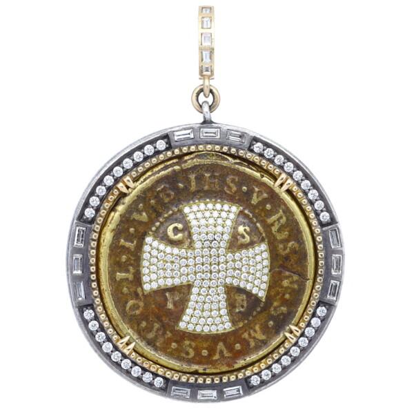 Closeup photo of Large Round Antique St Benedict Medal