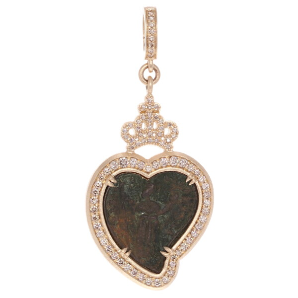 Closeup photo of Ancient Saint Heart Shaped Medal Pendant