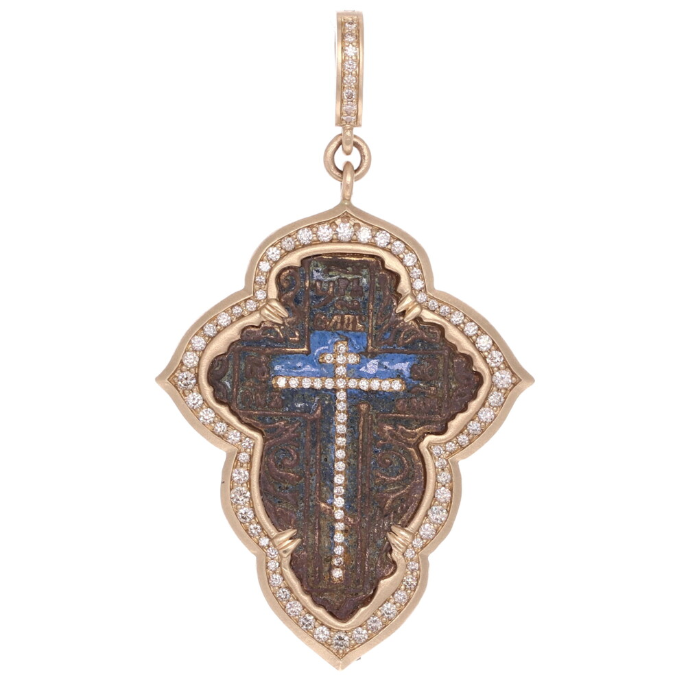 Small Female Old Believers Cross Pendant with Original Blue Enamel