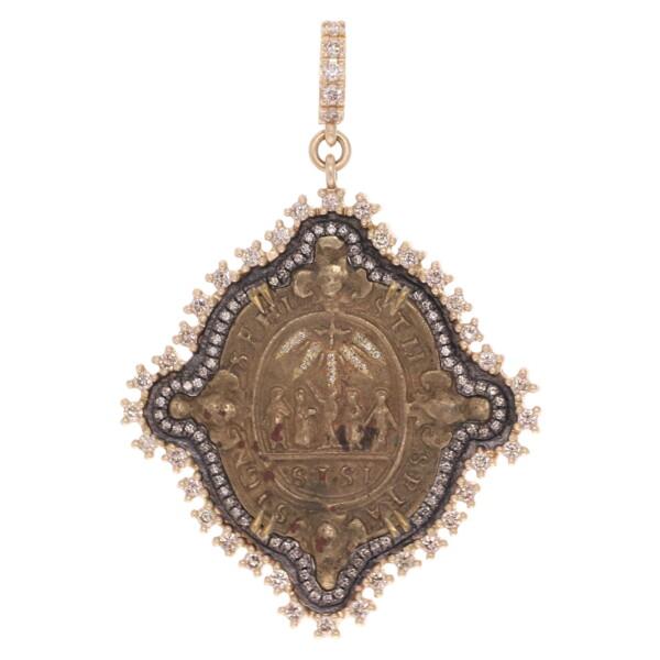 Closeup photo of Antique Spanish Brass Nativity Medal