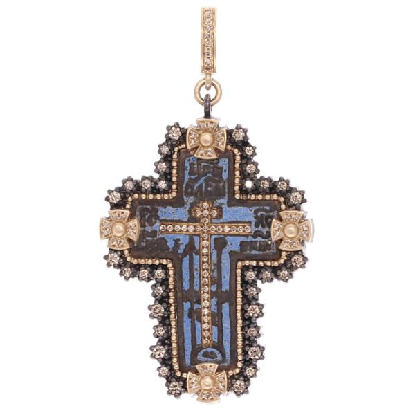 Closeup photo of Antique Old Believers Cross w/ Original Blue Enamel