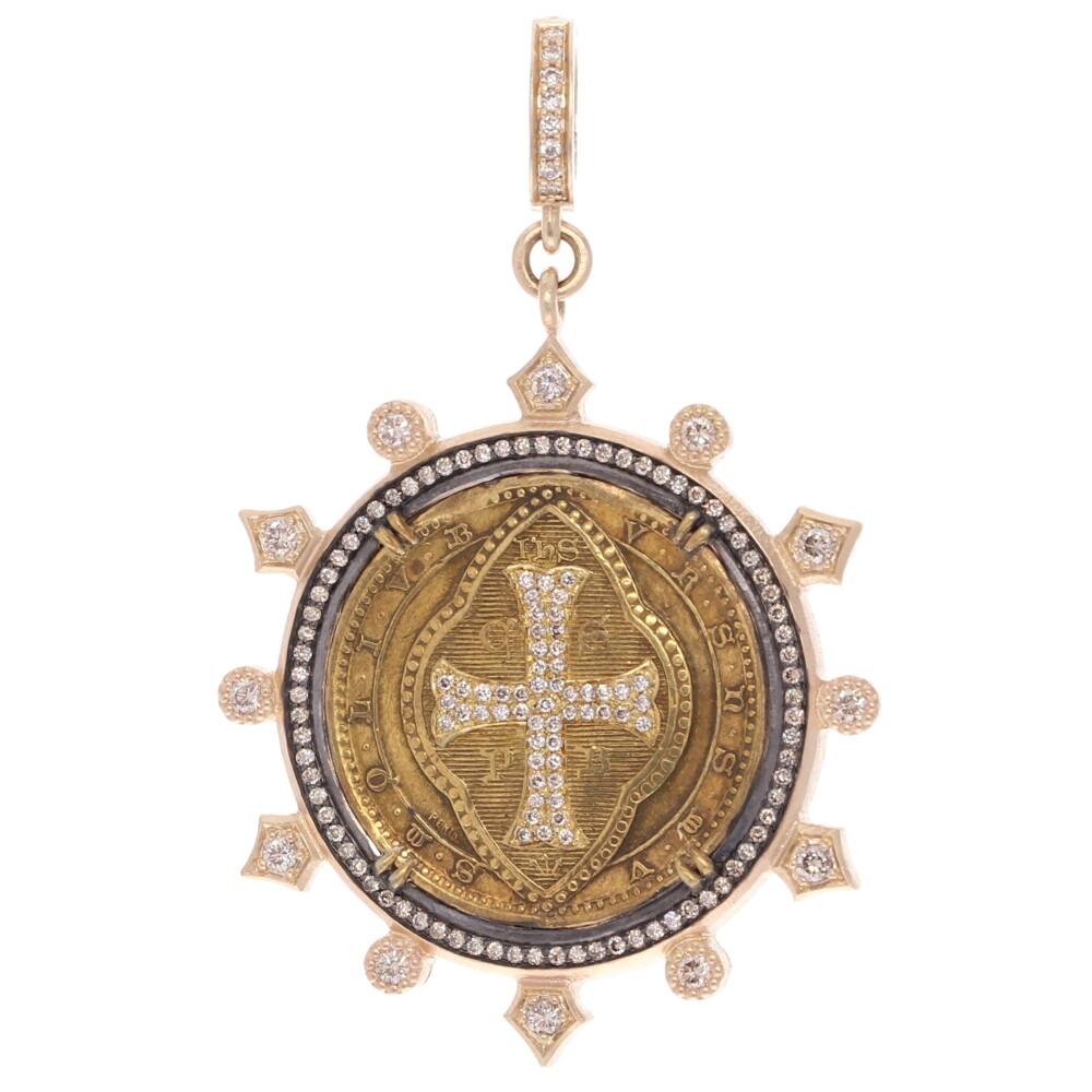 Antique Brass St. Benedict Medal Pendant