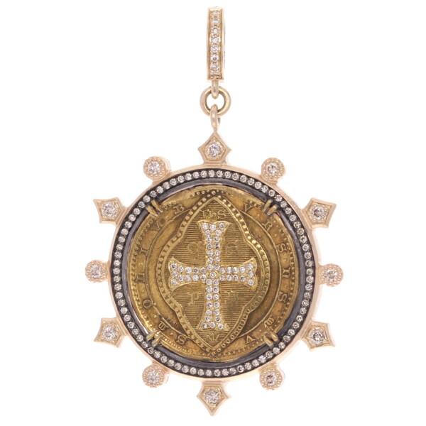 Closeup photo of Antique Brass St. Benedict Medal Pendant