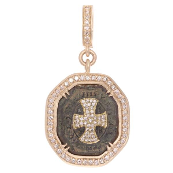 Closeup photo of Antique St Benedict Medal w/ Diamond Inlay