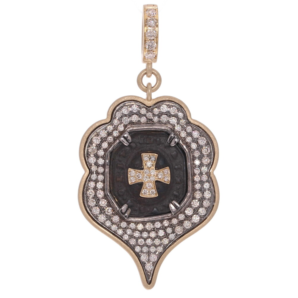 Antique St Benedict with Shield Bezel and Diamond Cross Inlay