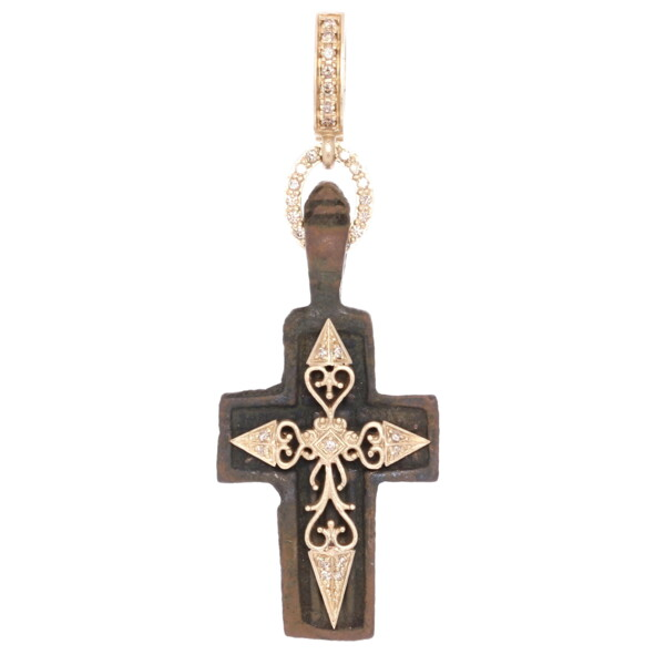 Closeup photo of Antique Old Believers Cross Pendant with Brown Petina