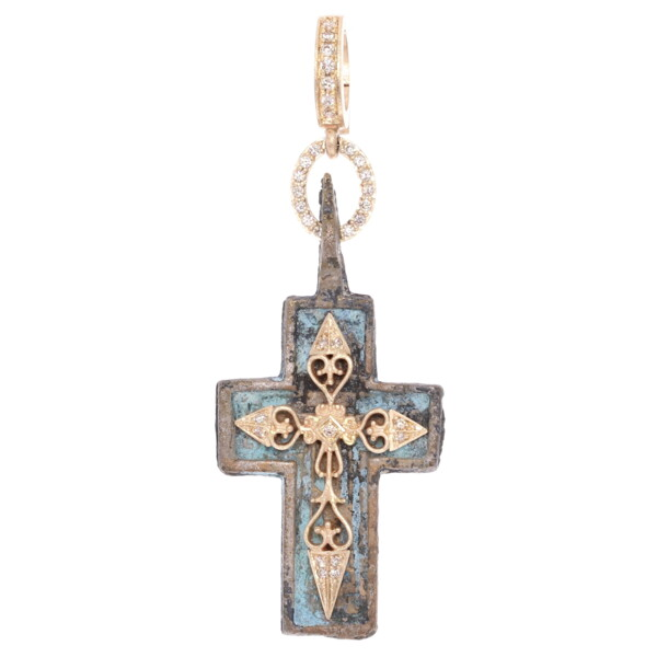 Closeup photo of Antique Old Believers Cross Pendant with Blue Patina