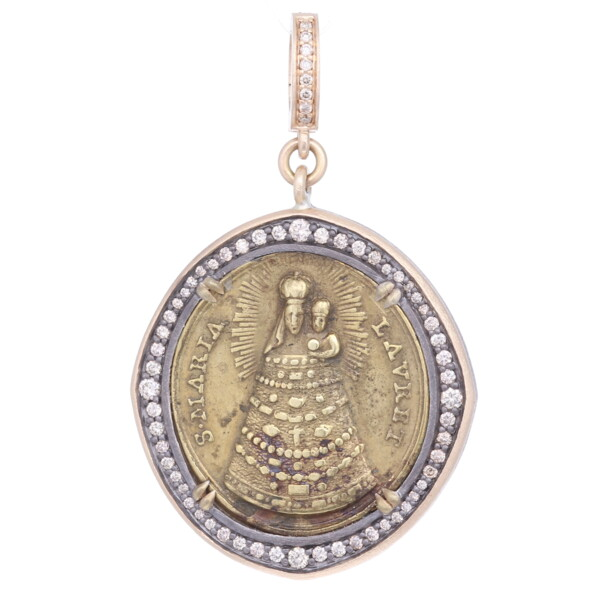 Closeup photo of Antique Italian Our Lady of Loreto Pendant