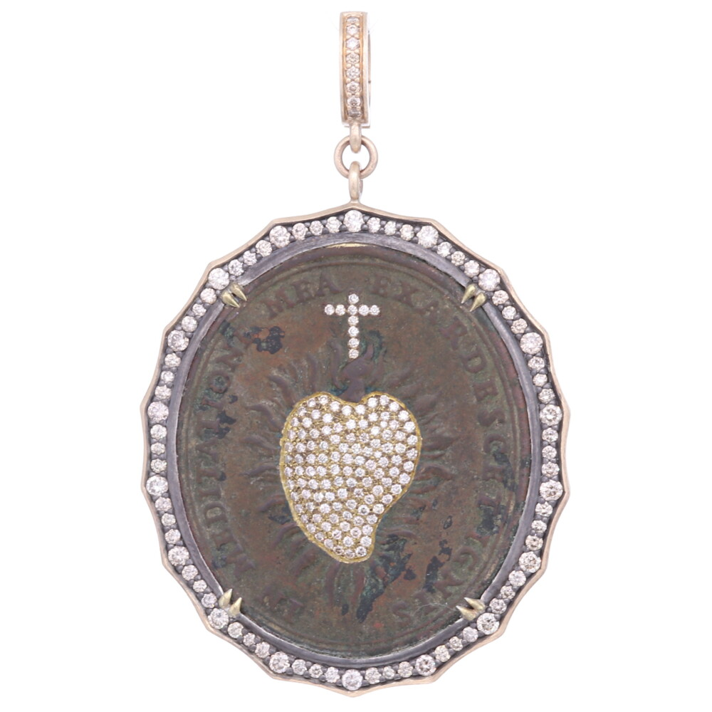 Antique Sacred Heart with Cross Inlay