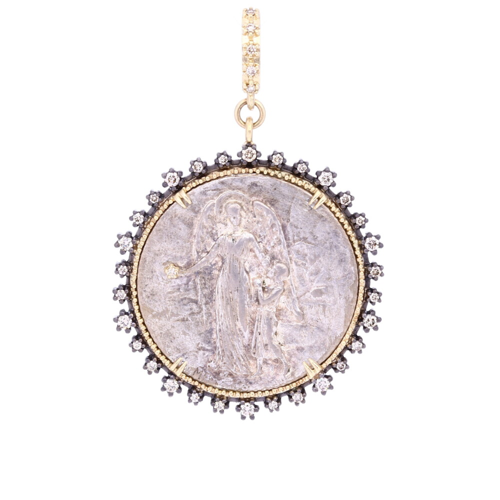 Antique Silver French Guardian Angel Medal