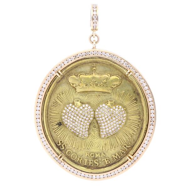 Closeup photo of Large Brass Sacred Heart Vatican Medal Pendant