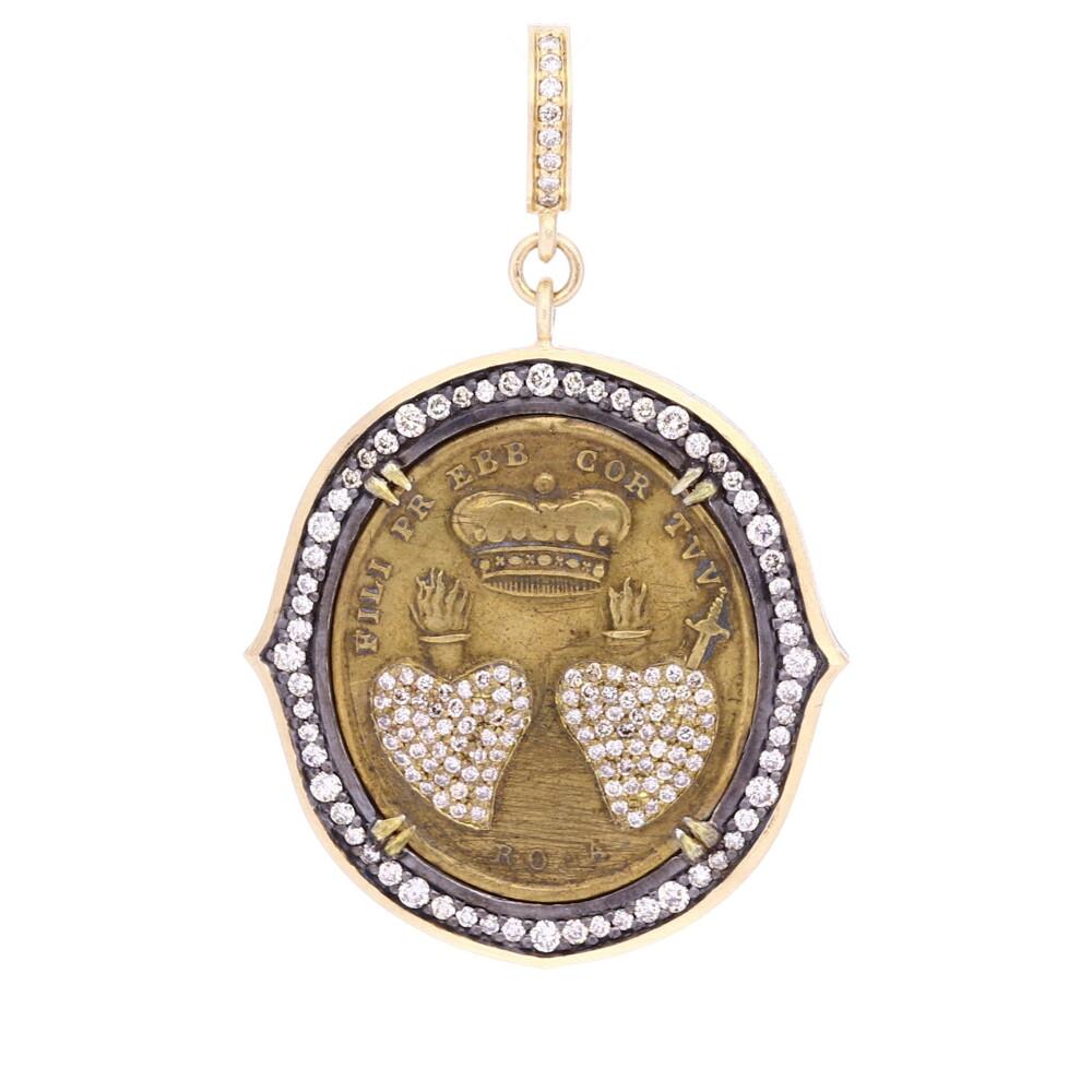 Antique Brass Italian Sacred Heart Medal Pendant