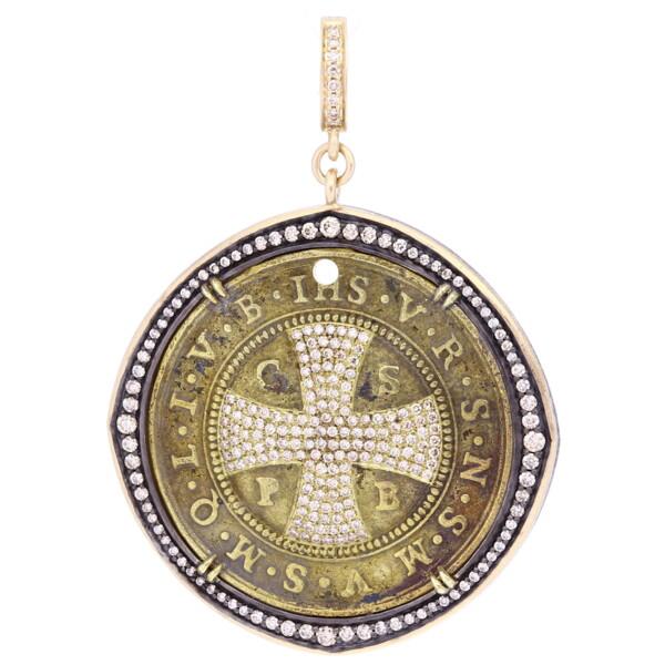Closeup photo of Large Antique Brass St Benedict Medal Pendant