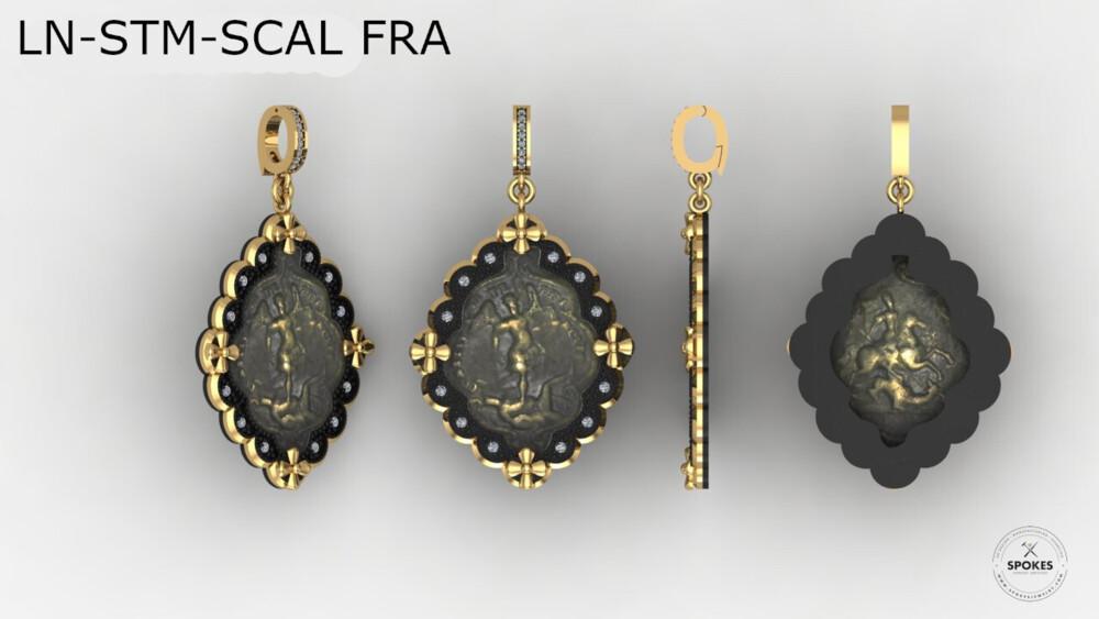 Antique Italian St. Michael Medal Pendant