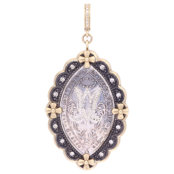 Closeup photo of Antique French Daughters of Mary Medal Pendant