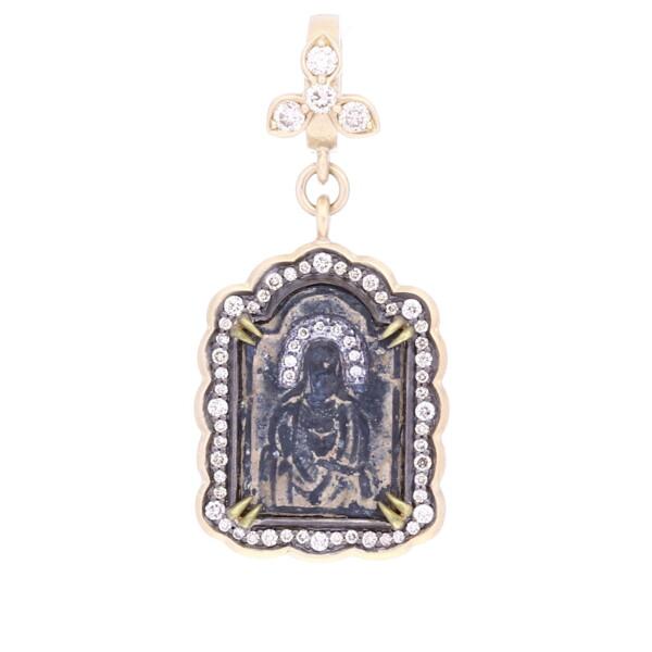 Closeup photo of Ancient Jesus Icon Medal Pendant