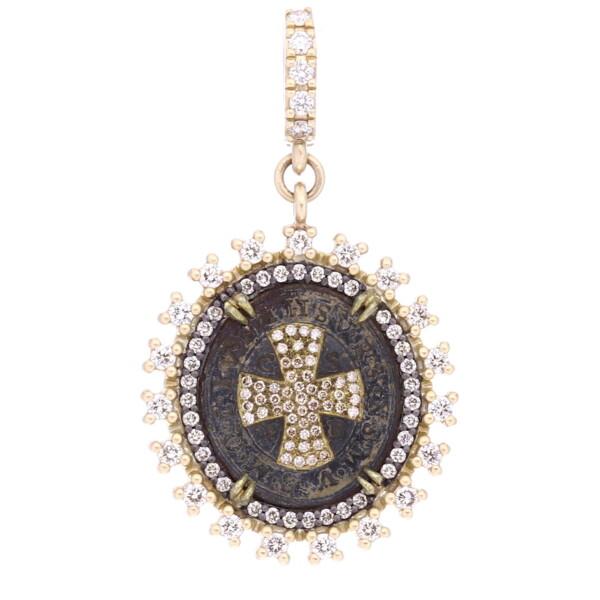 Closeup photo of Antique St Benedict Medal Pendant