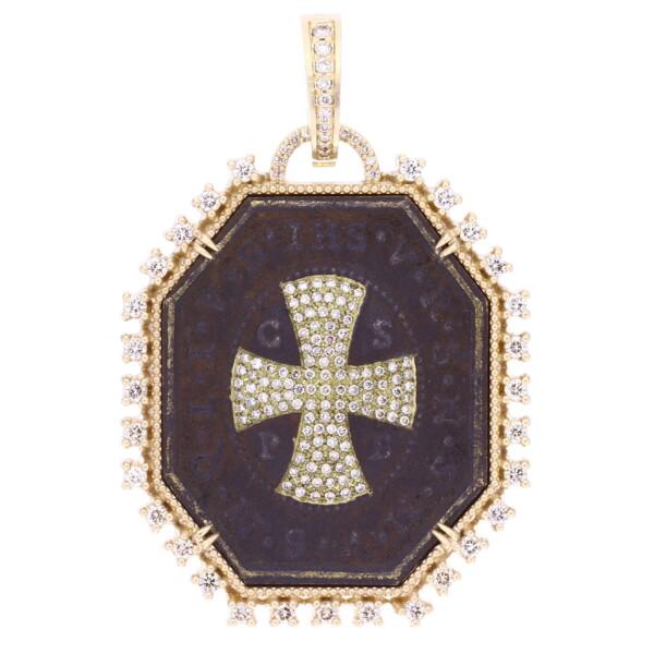 Closeup photo of Antique Octagon St Benedict Medal
