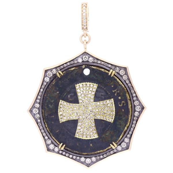 Closeup photo of Antique Round St Benedict Medal