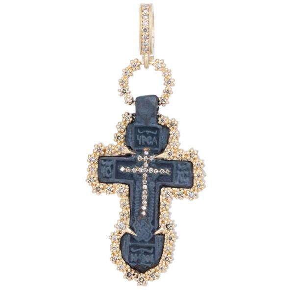 Closeup photo of Ancient Old Believers Cross w/ Diamond Inlay