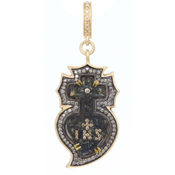 "Closeup photo of Ancient ""IHS"" Heart & Cross Medal Pendant"