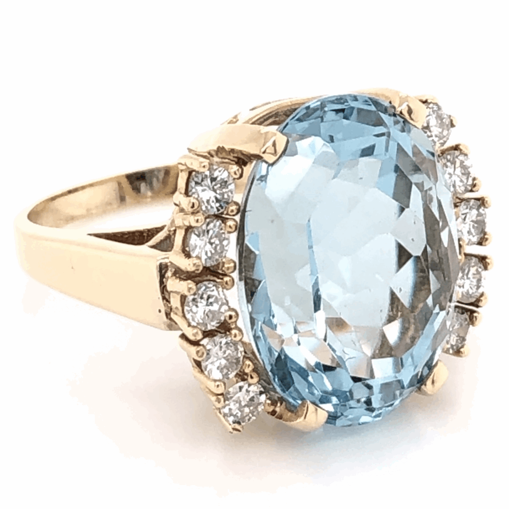 Image 2 for 14K Yellow Gold 13.40ct Oval Aquamarine Ring with .65tcw diamonds c1970