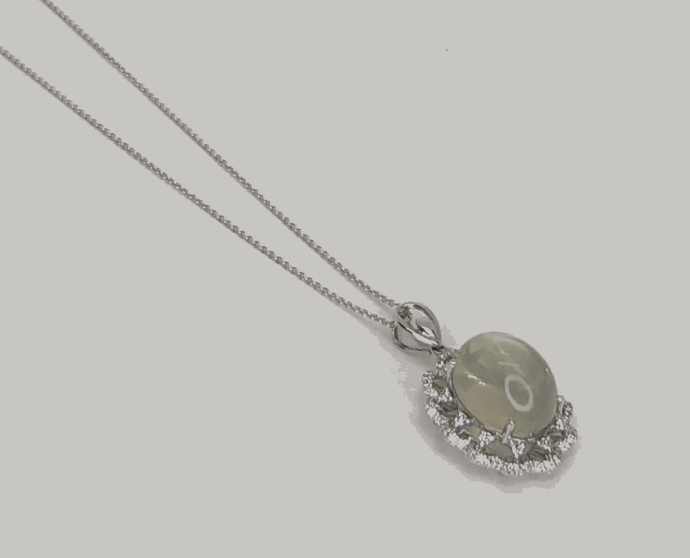 14k white gold pendant 9.01ct moonstone and .44tw diamonds