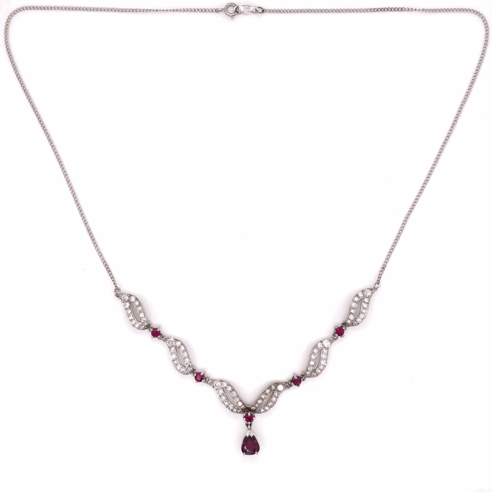 18/14k white gold 1950's Ruby and diamond necklace
