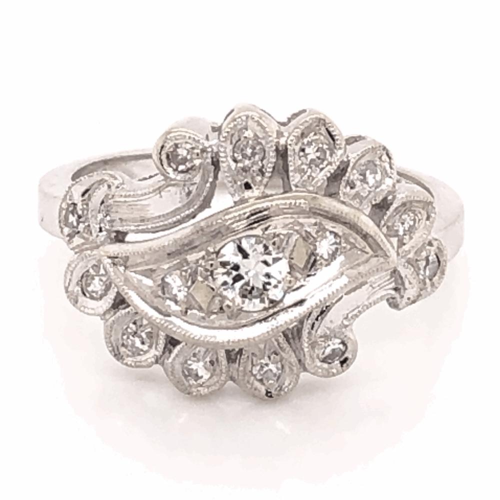 14K White Gold Diamond Spray Ring .29tcw, c1950's, s6.75
