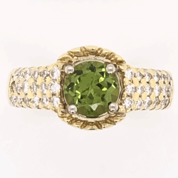 Closeup photo of 18K Yellow Gold 1ct Round Peridot Ring 36 diamonds .28tcw, 6.1g, s5.25
