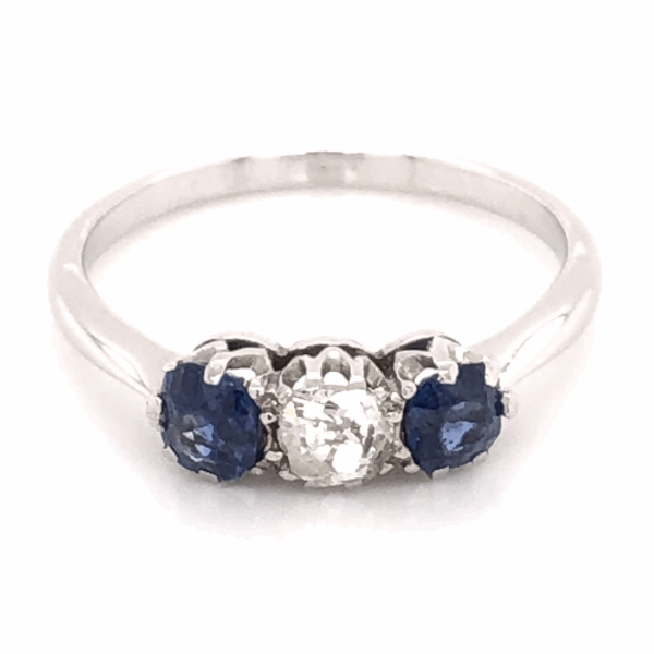 Closeup photo of 18K White Gold Victorian 3 stone Ring .25ct OEC, 2 Sapphires .50tcw, s7