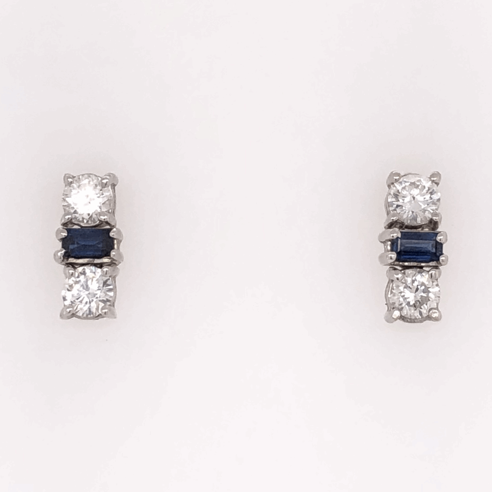 "14K White Gold Sapphire & Diamond Bar Earrings, 1.10tcw Dia, 1.00tcw Sapphires, 3.7g, .65"" tall"