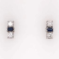 "Closeup photo of 14K White Gold Sapphire & Diamond Bar Earrings, 1.10tcw Dia, 1.00tcw Sapphires, 3.7g, .65"" tall"