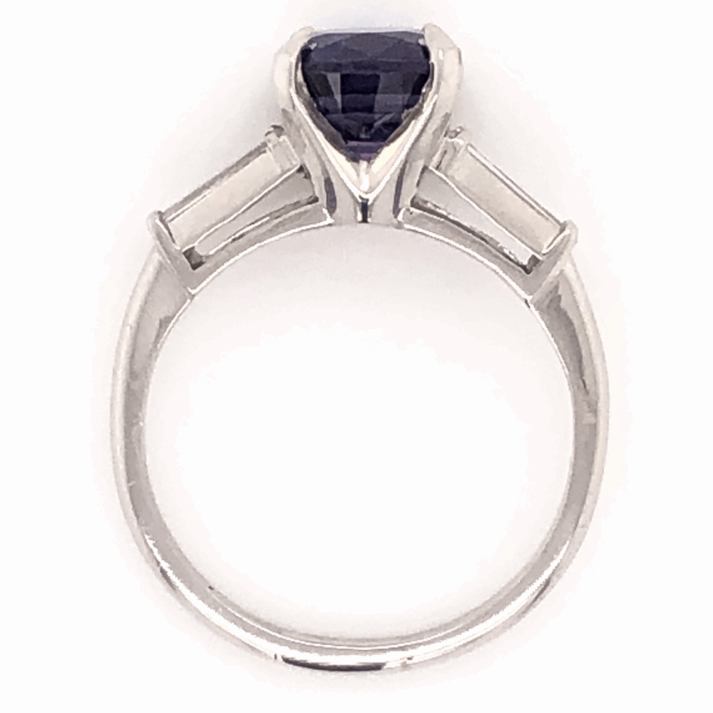 Image 2 for Platinum Classic Ring 2.84ct Cushion Cut Deep Purple Sapphire 2 tapered Baguette Diamonds .24tcw, size 6