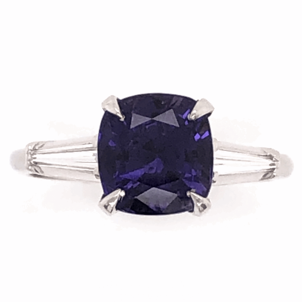 Platinum Classic Ring 2.84ct Cushion Cut Deep Purple Sapphire 2 tapered Baguette Diamonds .24tcw, size 6