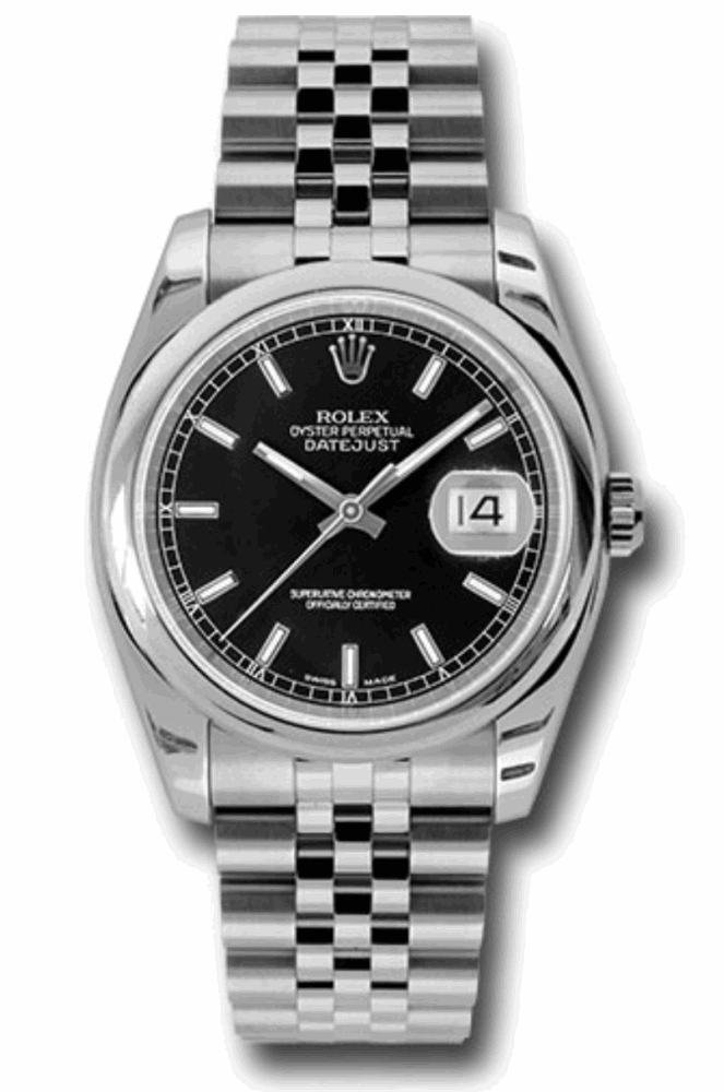 Rolex Style No:  116200 bksj Rolex Oyster Perpetual Datejust Watches  36mm stainless steel case, domed bezel, black dial, index hour markers, and Jubilee bracelet