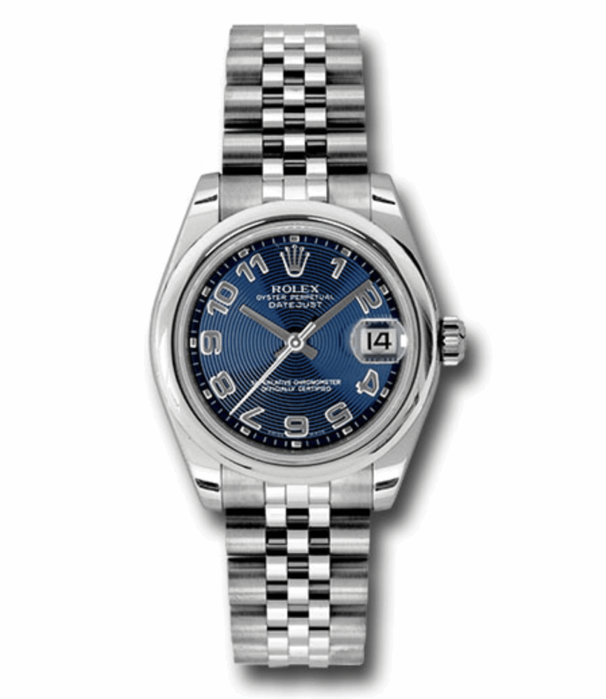 Rolex Midsize 31mm stainless steel case, domed bezel, blue concentric circle dial, Arabic numerals, and Jubilee bracelet