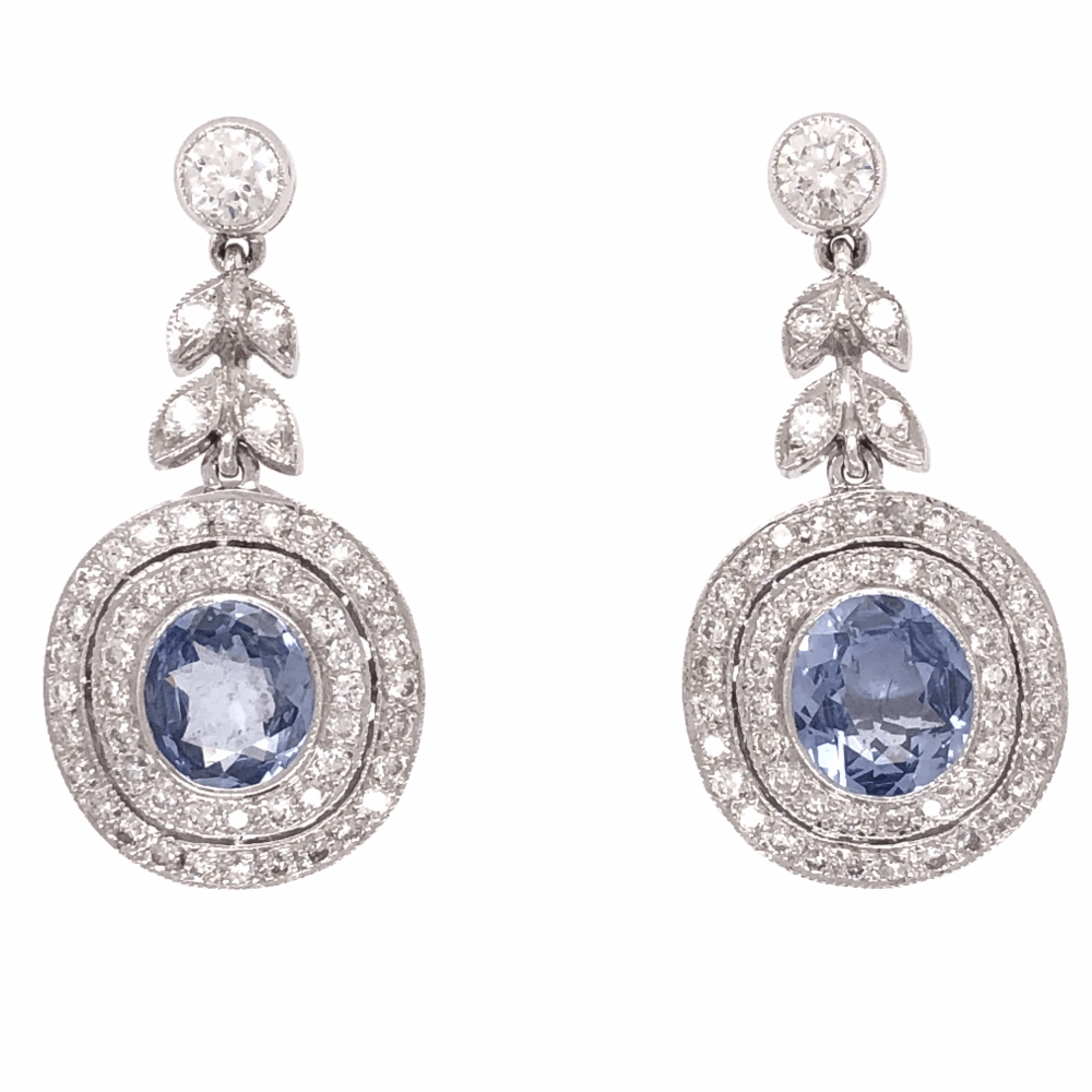 Filligree and Milgrain earrings 18K Gold with Sapphire and Diamond