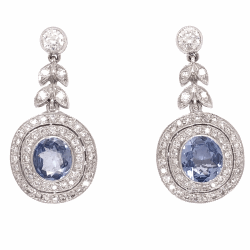 "Closeup photo of 18K White Gold 2 Sapphires 2.08tcw Earrings & 1.05tcw diamonds 1.1"" tall"