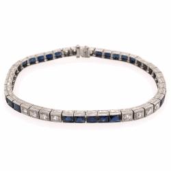 "Closeup photo of Platinum Art Deco 6.50tcw Sapphire & 1.00tcw Diamond Line Bracelet, 16.8g, 7.25"""