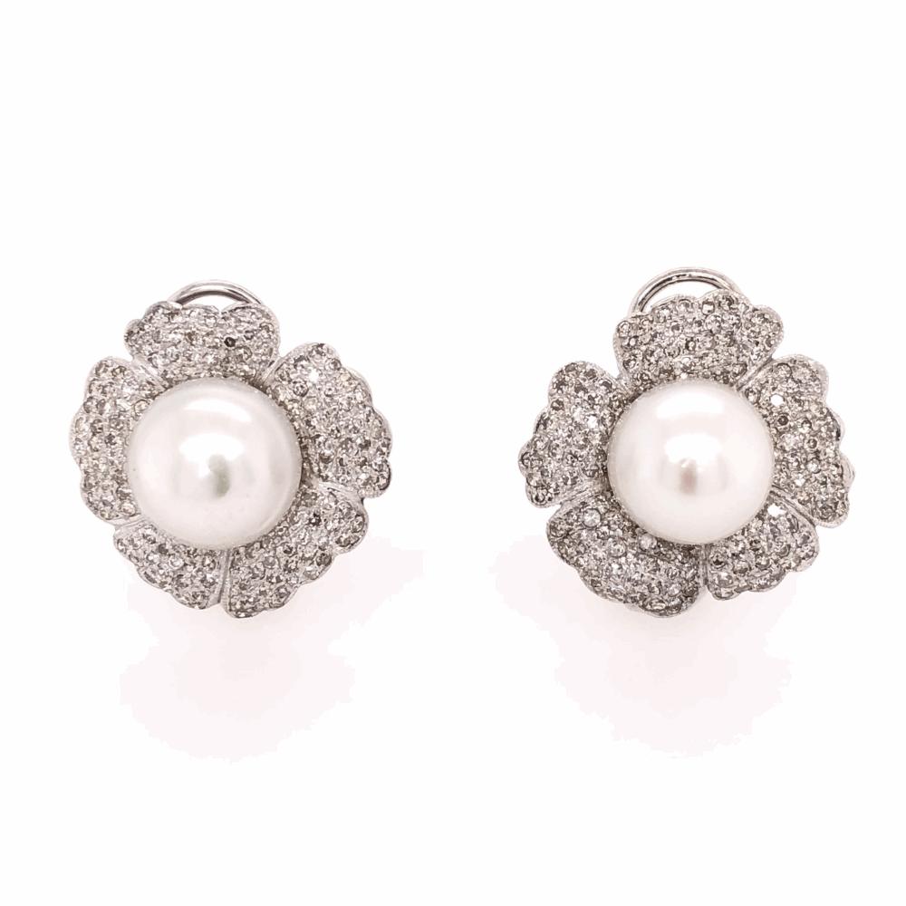 14K White Gold Pearl & 2.50tcw Diamond Flower Earrings, c1950's