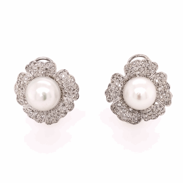 Closeup photo of 14K White Gold Pearl & 2.50tcw Diamond Flower Earrings, c1950's