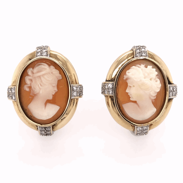 """Closeup photo of 14K Yellow Gold Large Shell Cameo Earrings French Clips .64tcw diamonds, 16.5g, 1.1"""" tall"""