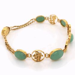 Closeup photo of 14K Yellow Gold Chinese 5 cab Jade Vintage Bracelet 8.9g
