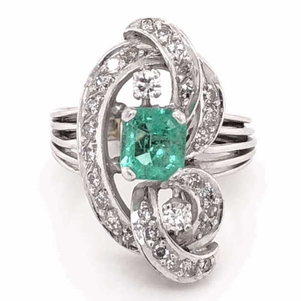 Closeup photo of Platinum 1950's .50ct Emerald & .35tcw Diamond Cocktail Ring, 7.0g