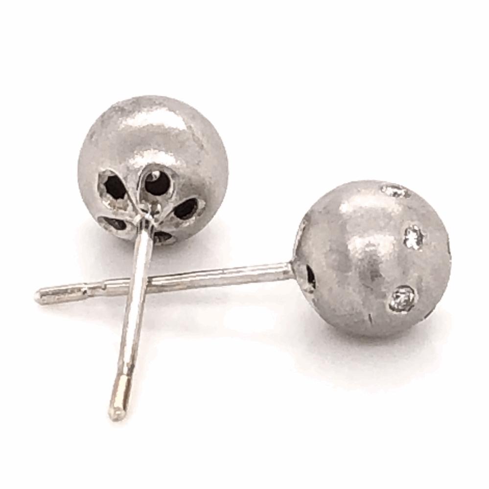 "Image 2 for 18K White Gold Brushed Ball Stud Diamond Earrings, .12tcw 1/3"""