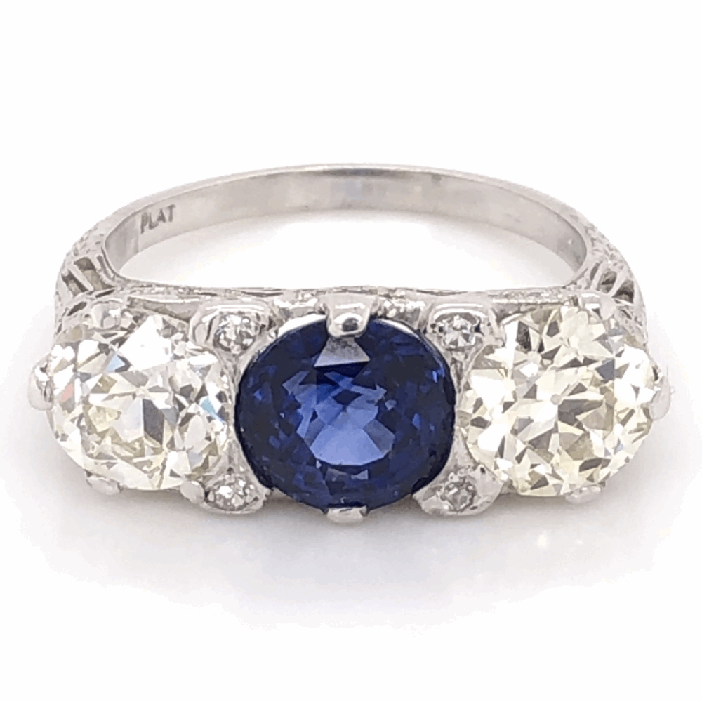 Platinum Art Deco 2.91ct Round Sapphire & 2 OEC Diamond 1.46ct & 1.48ct 3stone Ring s7.5