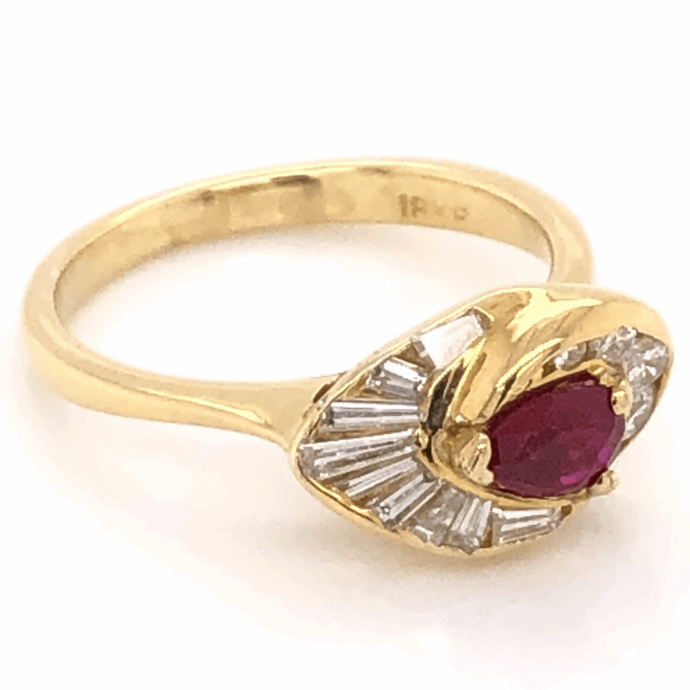 Image 2 for 18K Yellow Gold .48ct Pear Shape Ruby & .65tcw Diamond Ring, c1960's, s6.5
