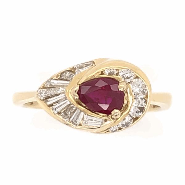 Closeup photo of 18K Yellow Gold .48ct Pear Shape Ruby & .65tcw Diamond Ring, c1960's, s6.5